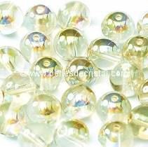 50 PERLES RONDES LISSES 4MM CRYSTAL GREEN RAINBOW 00030/98539