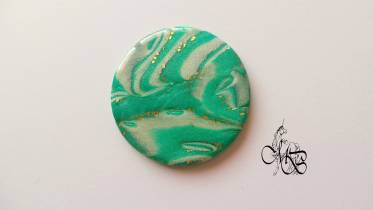 Flat puck / cabochon (hand) of MISS BRISTLING, polymer clay retsina, about 40MM - #38
