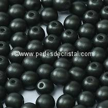 25 SMOOTH ROUND BEADS 6MM ALABASTER METALLIC BLACK 02010/29400
