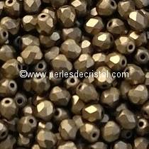 50 BOHEMIAN GLASS FIRE POLISHED FACETED ROUND BEADS 4MM COLOURS GOLD BRONZE MAT 23980/84100