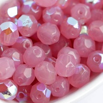 50 BOHEMIAN GLASS FIRE POLISHED FACETED ROUND BEADS 4MM COLOURS ROSE OPAL AB - 72000/28701