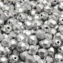 50 BOHEMIAN GLASS FIRE POLISHED FACETED ROUND BEADS 3MM COLOURS SILVER ALUMINIUM MAT 00030/01700