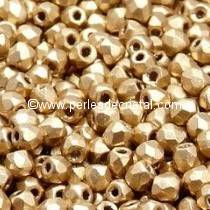 50 BOHEMIAN GLASS FIRE POLISHED FACETED ROUND BEADS 3MM COLOURS LIGHT GOLD MAT