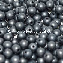 50 SMOOTH ROUND BEADS 3MM JET HEMATITE MATTED 23980/84400