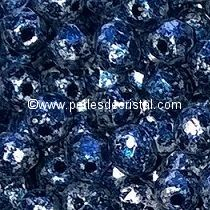 50 BOHEMIAN GLASS FIRE POLISHED FACETED ROUND BEADS 3MM COLOURS TWEEDY BLUE 23980/45706 - BLEU