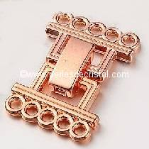 Clasp clips, 5 rows SILVER PINK/GOLD 24X16MM