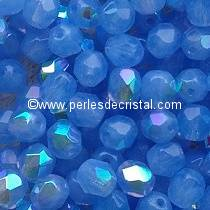 25 BOHEMIAN GLASS FIRE POLISHED FACETED ROUND BEADS 6MM COLOURS WATER SAPPHIRE AB 31000/28701