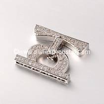 Clasp clip, with rhinestone SILVER 25x20x4MM