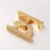 Clasp clip, with rhinestone GOLD 25x20x4MM