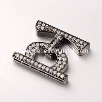 Clasp clip, with rhinestone BLACK 25x20x4MM