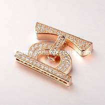 Clasp clip, with rhinestone PINK / GOLD 25x20x4MM