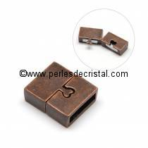 Magnetic clasp, form : rectangle with heart, colors BRONZE - 18x16mm