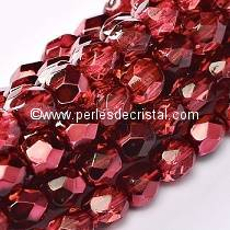 50 BOHEMIAN GLASS FIRE POLISHED FACETED ROUND BEADS 4MM METALLIC ICE CRYSTAL POMEGRANATE 00030/67958