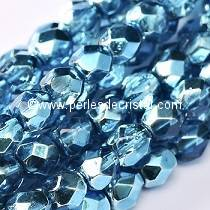 50 BOHEMIAN GLASS FIRE POLISHED FACETED ROUND BEADS 4MM CRYSTAL AQUAMARINE METALLIC ICE 00030/67675