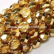 50 BOHEMIAN GLASS FIRE POLISHED FACETED ROUND BEADS 4MM CRYSTAL APRICOT METALLIC ICE 00030/67861