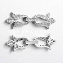 Clasp flowers clips, with rhinestone SILVER 39x13MM