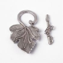 Vine leaves toggle clasp 36mm + bar 25 mm - SILVER