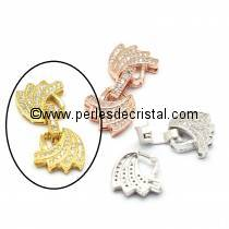 Clasp wings clips, with rhinestone GOLD 28x13MM