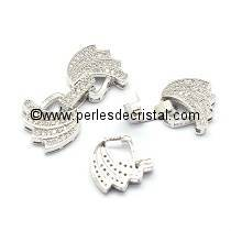 Clasp wings clips, with rhinestone SILVER 28x13MM