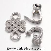 Clasp knot, 2 clips, 1 row with rhinestone SILVER 46x15MM