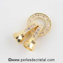 Clasp, round, 2 clips, 1 row with rhinestone GOLD 27x11MM