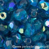 25 BOHEMIAN GLASS FIRE POLISHED FACETED ROUND BEADS 6MM COLOURS CAPRI BLUE AB 60080/28701