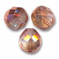 25 BOHEMIAN GLASS FIRE POLISHED FACETED ROUND BEADS 6MM COLOURS CRYSTAL CAPRI GOLD 00030/27101
