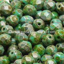 50 BOHEMIAN GLASS FIRE POLISHED FACETED ROUND BEADS 4MM COLOURS OPAQUE GREEN TURQUOISE TRAVERTIN DARK 63130/86805