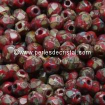 50 BOHEMIAN GLASS FIRE POLISHED FACETED ROUND BEADS 4MM COLOURS OPAQUE CORAL RED TRAVERTIN DARK 93200/86805