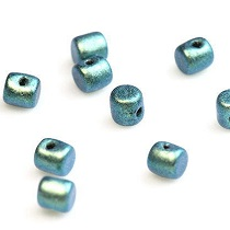 5GR BEADS MINOS® BY PUCA® 2.5X3MM COLOURS METALLIC MAT GREEN TURQUOISE 23980/94104