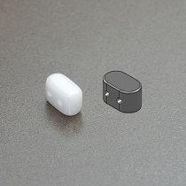 10GR PERLES IOS® PAR PUCA® 5.5X2.5MM COLORIS OPAQUE WHITE CERAMIC LOOK 03000/14400