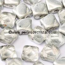 50 SILKY BEADS 6X6MM LOSANGE COLORIS CRYSTAL LABRADOR - ARGENT LIGHT - 00030/27001