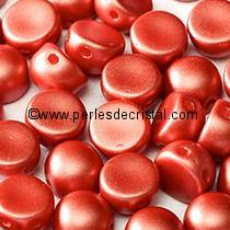 20 PERLES EN VERRE 2-HOLE CABOCHON 6MM COLORIS PASTEL DARK CORAL 02010/25010