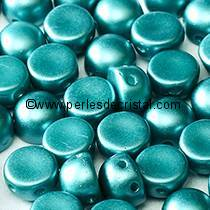 20 PERLES EN VERRE 2-HOLE CABOCHON 6MM COLORIS PASTEL EMERALD 02010/25043