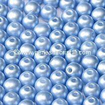 LOT 1200 PERLES RONDES LISSES 4MM PASTEL LIGHT SAPPHIRE 02010/25014