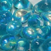 25 DROPS BOHEMIAN 6X9MM GLASS COLOURS AQUAMARINE AB 60020/28701