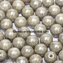 50 SMOOTH ROUND BEADS 4MM OPAQUE GREY CERAMIC LOOK 03000/14449