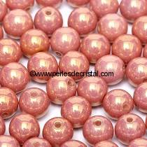 50 SMOOTH ROUND BEADS 4MM PINK CERAMIC LOOK 03000/14495
