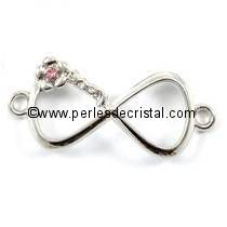 LOVE / AMOUR CONNECTOR in alloy, rhinestone, infinity symbol, SILVER 15x35x4MM