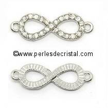 INFINITE CONNECTOR in silver metal inlaid with rhinestones 31x10MM